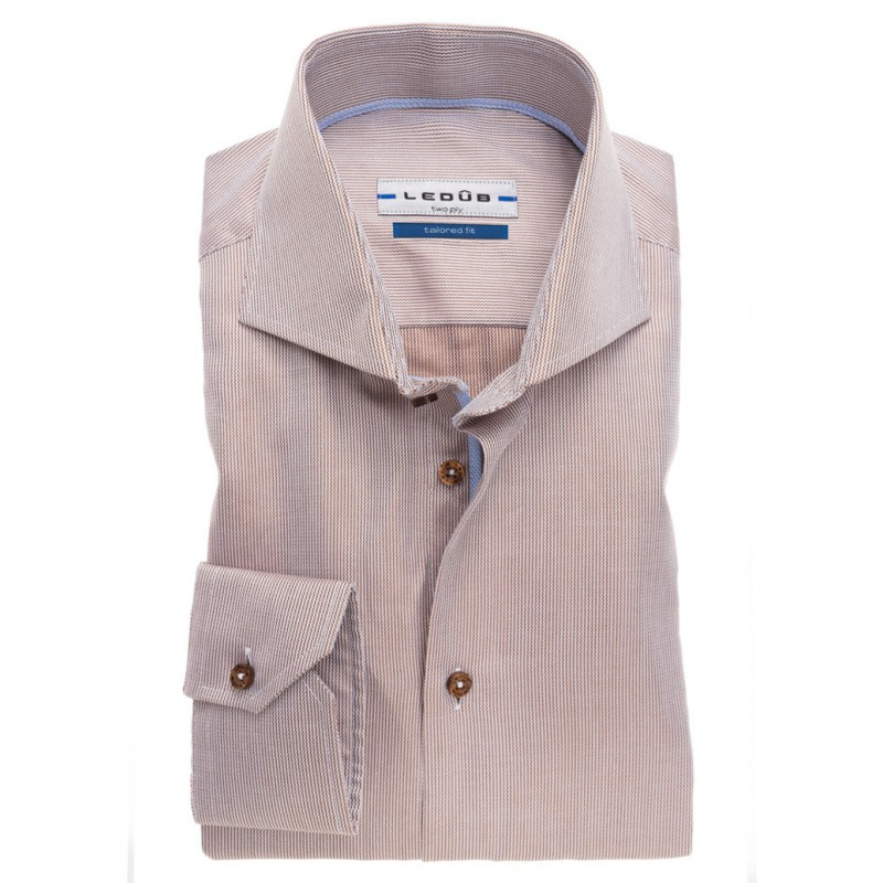 Bruin Overhemd.Ledub Bruin Overhemd